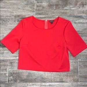 Express Red Crop Top Short Sleeve Gold Zipper Sz M